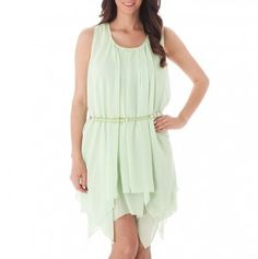 Pleated Asymmetrical Dress with Belt