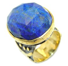 $62.95 Natural+Blue+faceted+Lapis+Lazuli+Gold+Rhodium+Plated+Sterling+Silver+Ring+s.+7 at www.SilverRushStyle.com #ring #handmade #jewelry #silver #lapislazuli