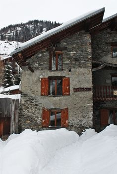 Traditional stone and wood chalet in the Heart of the Alps.