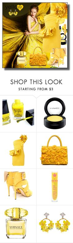 """Yellow"" by kelly-floramoon-legg ❤ liked on Polyvore featuring MAC Cosmetics, Dsquared2, Versace, VANINA, yellow, dress and fashionset"