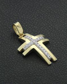 Σταυρός βάπτισης χρυσός & λευκόχρυσος Κ14 με Ζιργκόν Sign Of The Cross, Mens Crosses, Gold Cross, Crucifix, Cross Pendant, Natural Stones, Atonement, Etsy Shop, Silver