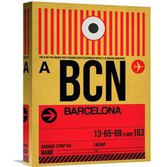 Naxart Studio 'bcn Barcelona Luggage Tag 1' Stretched Canvas Wall Art
