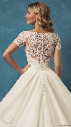 amelia sposa 2017 bridal short sleeves heavily embellished bodice princess ball gown wedding dress chapel train lace back (alyssa) zbv