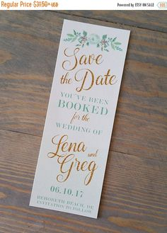 Dog-Days of Summer Sale bookmark save the date, save the date bookmark, mint and gold, mint and gold save the date