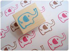 Elephant stamp Handmade cute elephant by JapaneseRubberStamps, £5.00
