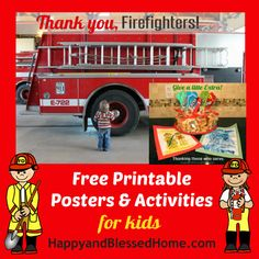 FREE Printable Posters and Activities for Kids to thank the men and women who serve in our communities from HappyandBlessedHome.com #Firefighters #FreePrintables #preschool