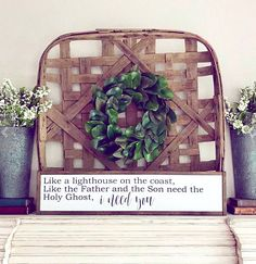 This tobacco basket mixed with wreath and other rustic touches is so pretty! #ad #affiliate #homedecor #farmhouse #wreath #basket #farmhousesign #farmhousedecor #rustic #rusticdecor