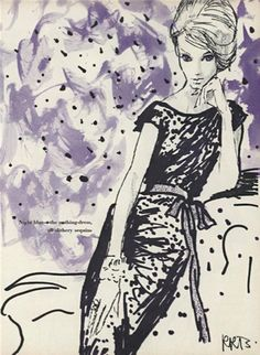 Night blue-the nothing dress, all slithery sequins.Fashion poetry. RenéBouchéfrom Vogue September 1960.