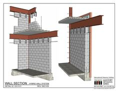 The Masonry Detailing Series is a collection of illustrative construction details & diagrams made for architects & engineers to use as a design resource. Steel Frame House, Steel House, Steel Frame Construction, Construction Design, Steel Building Homes, Building A House, Facade Design, House Design, Earthquake Proof Buildings