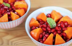 Pomegranate & Persimmon Autumn Fruit Salad Food For The Gods, Fruit Stall, Calcium Magnesium, Fall Fruits, Stalls, Plant Based Recipes, Vitamin C, Pomegranate, Food Hacks