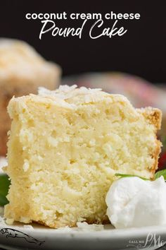 This Coconut Cream Cheese Pound Cake recipe is crazy delicious. Dense and buttery this pound cake is topped simply with a sprinkle of powdered sugar then served with whipped cream and berries. This rich, dense, buttery cake is dessert perfection. Coconut Pound Cakes, Coconut Desserts, Pound Cake Recipes, Coconut Recipes, Just Desserts, Baking Recipes, Delicious Desserts, Dessert Recipes, Easter Recipes