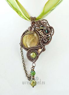 OOAK Olive green steampunk wire wrapped pendant $59 on Etsy