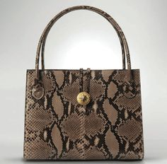 a94033efd378 #MarciaSherill, Grande Anne Tole: s neutral and black python skin-covered  bag
