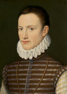 Renaissance Period. This man is wearing a ruff around his neck. And for his main garment he is wearing the traditional doublet with button details going down the front.