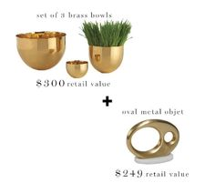 Your pad needs a pick-me-up! Enter to win @DwellStudio brass sculpture and set of 3 bowls courtesy of @Homepolish + @inspiredbycharm