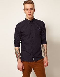 Fred Perry Laurel Wreath Shirt with Circle Print in Navy