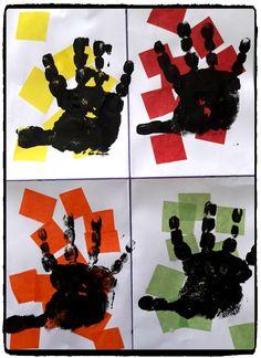 Hand art, peinture avec empreintes de mains, art visuel, enfant
