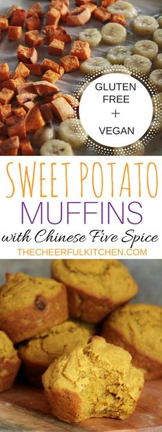 These Sweet Potato Muffins with Chinese Five Spice are Vegan + Gluten Free! These are the best dairy free muffins ever! Guilt free breakfast never tasted so good. Get the recipe at The Cheerful Kitchen!