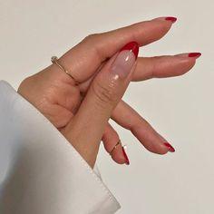 nails 114 best red acrylic nail designs - page 5 Diy Nails, Cute Nails, Pretty Nails, Nail Manicure, Shellac Nail Art, Swag Nails, French Tip Nail Art, Colored Nail Tips French, Glitter French Manicure