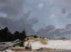 Last Kiss, Original Spring Landscape Painting on Paper 9 x 12 Inches, Stooshinoff