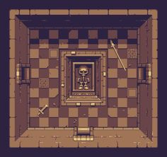 4 colour tomb for @Pixel_Dailies. Inspiration: Hero Quest, Zelda, the colour brown. #pixel_dailies #pixelart