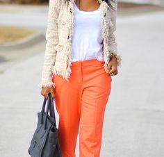 Pearl / Chain trimmed tweed jacket plus mango-colored pants