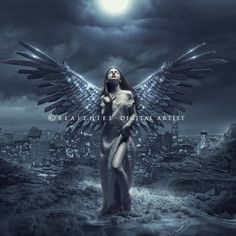 I love working with this kind of light, the soft background and fantasy concepts. Recently I started to read The Lord of the rings and clearly I've been influenced by the Tolkien's worl. Gothic Angel, Gothic Art, Angels Among Us, Angels And Demons, Dark Angels, Fallen Angels, Dark Fantasy Art, Dark Art, Angel Artwork