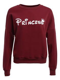 Long Sleeve Loose Letter Pattern Sweatshirt in Wine Red | Sammydress.com