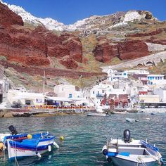 Santorini. Amoudi Bay is famous for its traditional taverns with fresh fish and amazing, romantic sunsets.