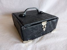 Black Leather Cigar Box Purse Handbag
