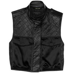 Rag & Bone Highclare Vest ($350) ❤ liked on Polyvore featuring outerwear, vests, tops, jackets, black, leather vests, cropped leather vest, genuine leather vest, zip vest and leather waistcoat
