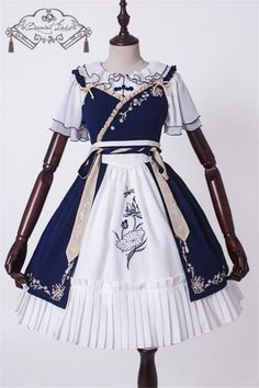 Lotus Flower Delicate Embroidery Qi Cheongsam Wa Lolita Dress