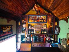 The Shebeen Mobile Irish Pub. Fully functioning bar, seating for 10 & sound system. Stuffed & mounted fox on top of bar. Vintage radio. Green wall. Wood ceiling. Can be found cruising through New York, Massachusetts and Connecticut. The Knot