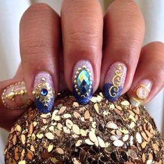 Gypsy Nails Picture only/ link broken Easter Nail Designs, Nail Art Designs, Gorgeous Nails, Pretty Nails, Amazing Nails, Get Nails, Hair And Nails, Gypsy Nails, Nail Jewels