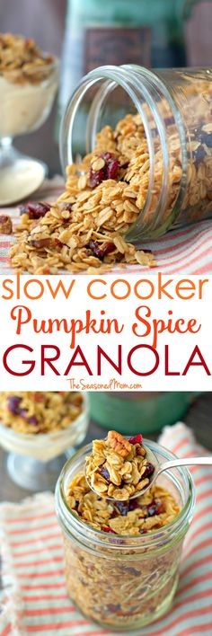 This Slow Cooker Pumpkin Spice Granola Recipe is an easy make-ahead breakfast or snack to pair with a cozy mug of coffee this season! #ad #CartwheelForCreamer