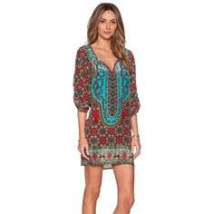 Womens Casual Summer Tie-Neck Loose Tunic Tops Pullover Printed Blouse Cyan (Size-M) $10.64