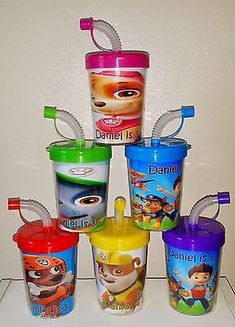 Paw Patrol Party Favor Cups Personalized DIY Birthday Party Treat Cups Set of 6