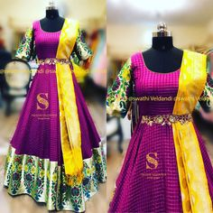 Silk checks gown with embroidery belt and banarus dupatta. Beautiful purple color checked floor length dress with yellow color benaras dupatta. Call/watsapp for details 02 March 2019 Indian Wedding Gowns, Indian Gowns Dresses, Indian Outfits, Long Gown Dress, Crop Dress, Long Frock, Long Gowns, Long Dresses, Half Saree Designs