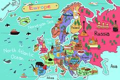 Buy Europe Map by artisticco on GraphicRiver. A vector illustration of Europe map in cartoon style. Vector illustration, zip archive contain eps 10 and high resolu. World Map Europe, World Map Continents, World Map Printable, Europe Map Printable, Germany Poland, Maps For Kids, School Posters, North Sea, World Cultures