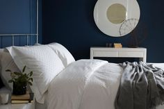 """Clean and elegant, it looks wonderful against a backdrop of neutrals or partnered with a punchy wall colour, such as the inky blue """"Hick's Blue"""" from Little Greene. Wall Colors, Colours, Little Greene Paint, Color Mixing, Boudoir, Beautiful Homes, Master Bedroom, Backdrops, Decorating Ideas"""