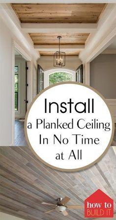Installieren Sie eine Dielendecke in kürzester Zeit - Ceiling Ideas Home Repair, Diy Ceiling, Home Improvement Projects, Simple House, Easy Home Decor, Wood Plank Ceiling, Home Improvement, Diy Home Improvement, Ceiling