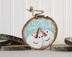 Items similar to Gift for Coworker Large Snowman Ornament Wood Snowman Art Christmas Tree Ornament Xmas Gift Exchange Love Never Melts Wedding Gift Couple on Etsy Couples Christmas Ornament, Christmas Gifts For Couples, Christmas Wood Crafts, Christmas Tree Painting, Christmas Signs Wood, Christmas Couple, Diy Christmas Ornaments, Rustic Christmas, Christmas Decor