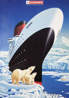 Vintage Travel Poster 1950 s Caronia Cunard Ocean Liner that travels worldwise this poster captures the ship through the Artic This poster is printed Retro Poster, Poster Ads, Poster Vintage, Travel Ads, Vintage Boats, Ship Art, Vintage Travel Posters, Cool Posters, Illustrations And Posters