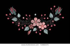 Embroidery Stitches Wild Flowers Spring Flowers Stok Vektör (Telifsiz) 719683375 Spring Flowers, Wild Flowers, Branches, Embroidery Stitches, Folk, Pastel, Brooch, Image, Cake