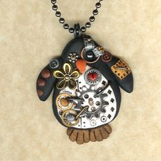 Steampunk Penguin Necklace Polymer Clay Jewelry freeheart1 http://www.etsy.com/listing/89867260/steampunk-penguin-necklace-polymer-clay?ref=sr_gallery_1=_search_submit=_search_query=steampunk+penguin_view_type=gallery_ship_to=US_search_type=handmade_facet=handmade