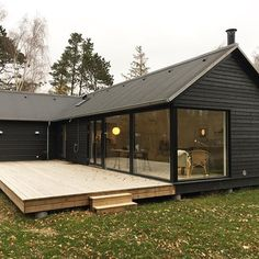 Modular homes by Denmark based Mønhuset Modern Barn House, Timber House, Black House Exterior, House Extensions, Affordable Housing, Home Fashion, Cabana, Future House, Building A House