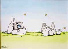 The Gummy Bunnies went outside to try and take a family photo. These portraits are never easy, are they? This is a LittleLobo original painting (not a