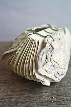 Oyster No. 2 Handstitched Oyster Book Sculpture by odelae on Etsy