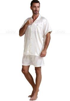 6b2e9ac193 Mens Silk Satin Pajamas Pajama Pyjamas Short Set Sleepwear Loungewear  U.S.S