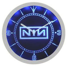 NIN Nine Inch Metal Rock Music Neon Sign Bar Wall Clock